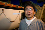 Hidenobu Suzuki, leader of the so-called Fukushima 50 is given poses for a photo on the deck of the Kaiwomaru in the dock at Onahama Port, Iwaki City, Fukushima Prefecture on  23 March 20011.  .Photographer: Robert Gilhooly