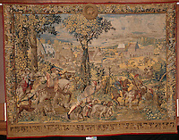 "Barent Van Orley,  (ca.1488-1541) Tapestry depicting the hunts of Maximilian, called the ""Belles chasses de Guise"": April, Sign of Taurus: return from the falcon hunt. Made in Brussels, ca. 1530 Louvre, Paris, France,  Digital Print On Canvas  Image Size 68"" high  x   98"" Plus Burgundy Border for Stretching"