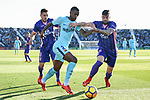 Nelson Cabral Semedo of FC Barcelona (C) fights for the ball with Gabriel Appelt Pires of CD Leganes (L) and Diego Rico Salguero (R) during the La Liga 2017-18 match between CD Leganes vs FC Barcelona at Estadio Municipal Butarque on November 18 2017 in Leganes, Spain. Photo by Diego Gonzalez / Power Sport Images