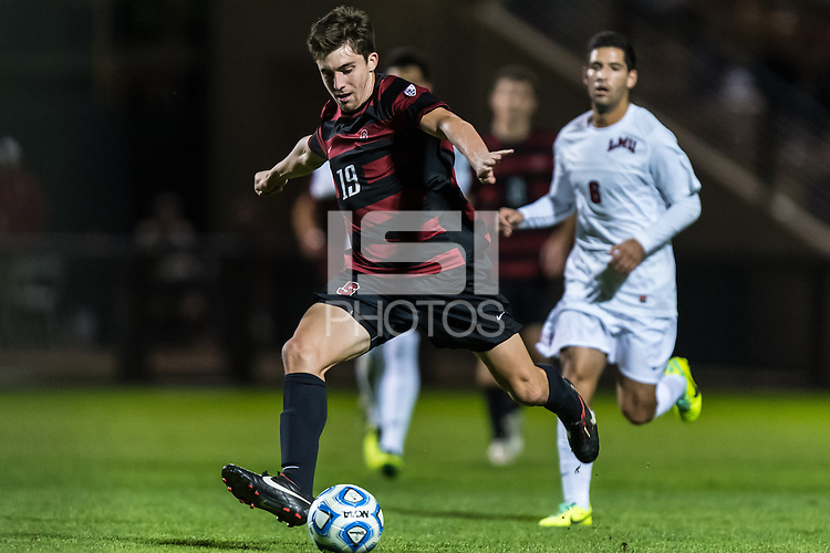 November 21, 2013: Bobby Edwards during the Stanford vs Loyola Marymount NCAA 1st round men's soccer match in Stanford, California.  Stanford won 3-2 on penalty kicks after a double overtime draw of 1-1.