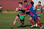 Cody Martin moves in to stop Dominic Olson's run. Counties Manukau Premier Club Rugby game between Waiuku & Ardmore Marist played at Waiuku on Saturday 20th June, 2009. Waiuku won the game 28 - 25.