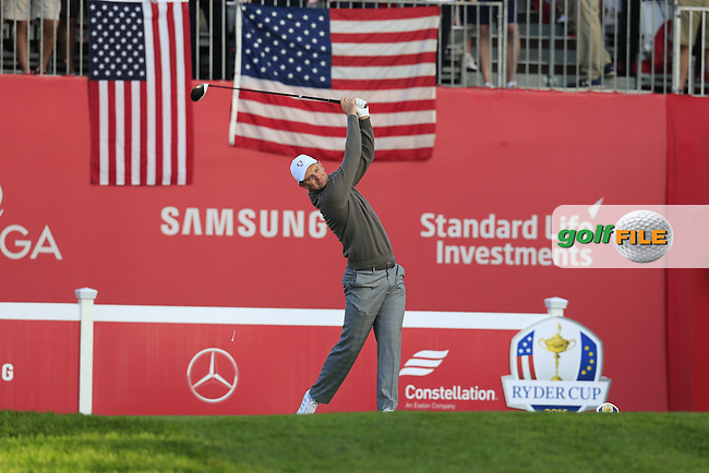 Justin Rose (ENG) Team Europe tees off the 1st tee to start Saturday Morning Foursomes Matches of the 41st Ryder Cup, held at Hazeltine National Golf Club, Chaska, Minnesota, USA. 1st October 2016.<br /> Picture: Eoin Clarke | Golffile<br /> <br /> <br /> All photos usage must carry mandatory copyright credit (&copy; Golffile | Eoin Clarke)