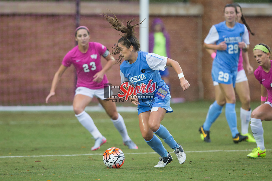 Alexa Newfield (88) of the North Carolina Tar Heels controls the ball during first half action against the Wake Forest Demon Deacons at Spry Soccer Stadium on September 27, 2015 in Winston-Salem, North Carolina.  The Tar Heels defeated the Demon Deacons 1-0.  (Brian Westerholt/Sports On Film)