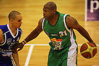 Kantrail Horton tries to get by Lindsay Tait during the NBL Round 14 match between the Manawatu Jets  and Wellington Saints. Arena Manawatu, Palmerston North, New Zealand on Saturday 31 May 2008. Photo: Dave Lintott / lintottphoto.co.nz