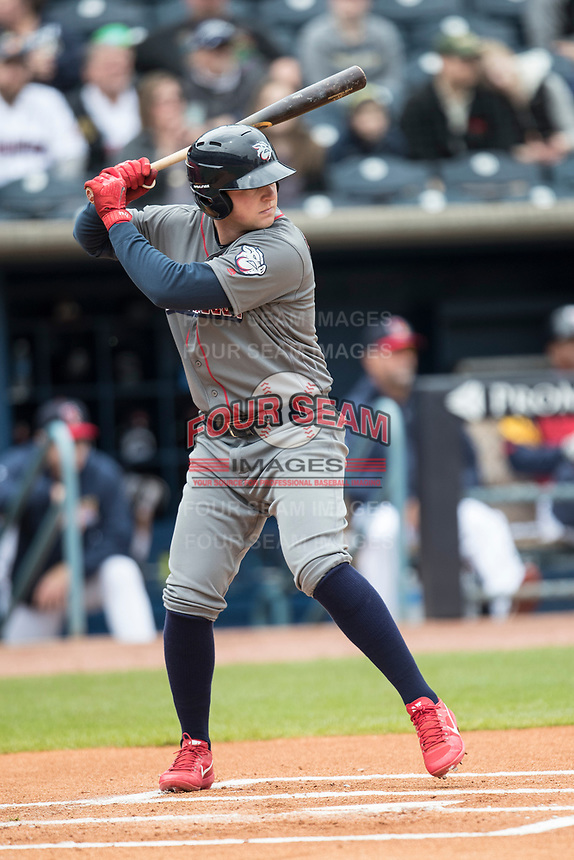 Lehigh Valley IronPigs first baseman Rhys Hoskins (12) at bat against the Toledo Mud Hens during the International League baseball game on April 30, 2017 at Fifth Third Field in Toledo, Ohio. Toledo defeated Lehigh Valley 6-4. (Andrew Woolley/Four Seam Images)