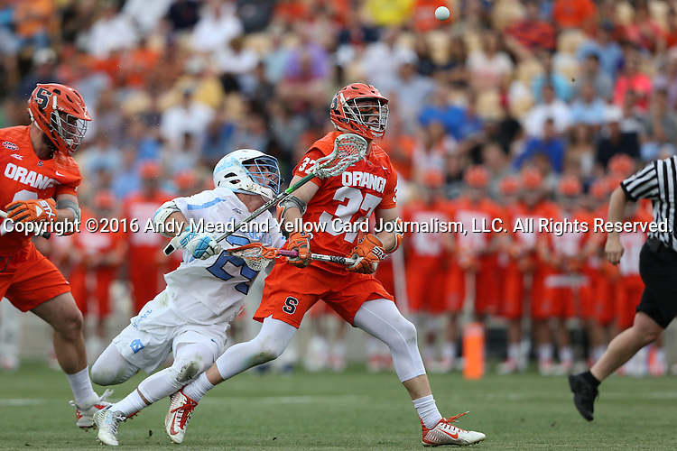 29 April 2016: Syracuse's Drew Jenkins (37) and North Carolina's Stephen Kelly (24). The University of North Carolina Tar Heels played the Syracuse University Orange at Fifth Third Bank Stadium in Kennesaw, Georgia in a 2016 Atlantic Coast Conference Men's Lacrosse Tournament semifinal match.