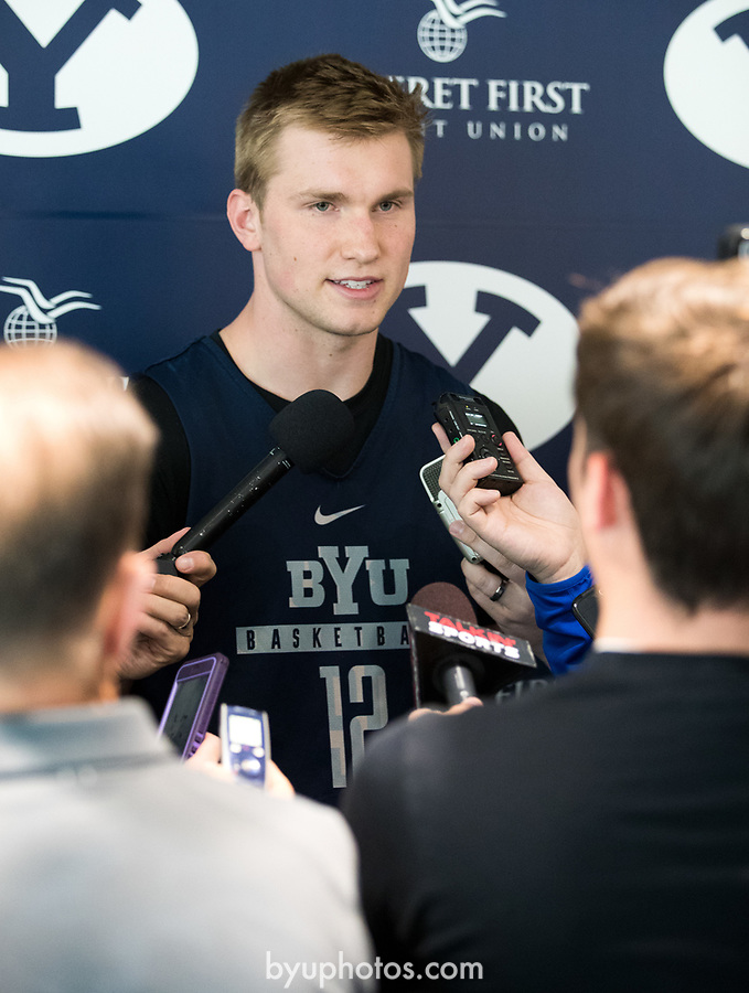 16-17mBKB Eric Mika Press Conf 033<br /> <br /> 16-17mBKB Eric Mika Press Conference<br /> <br /> BYU Basketball's Eric Mika holds a press conference to announce that he will declare for the NBA draft.<br /> <br /> March 22, 2017<br /> <br /> Photo by Jaren Wilkey/BYU<br /> <br /> © BYU PHOTO 2017<br /> All Rights Reserved<br /> photo@byu.edu  (801)422-7322