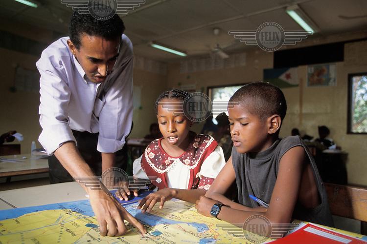 School children in geography class.