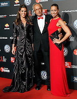 Spanis swimmers Gemma Mengual (r) and Ana Carbonel with the Dr. Bonaventura Clotet, Director of Fundacion Lucha Contra el SIDA during Barcelona 5th AIDS Ceremony. November 24,2014.(ALTERPHOTOS/Acero) /NortePhoto<br />