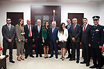 Palestinian President Mahmoud Abbas meets with Palestinian delegation that participated in Interpol meetings at his headquarter in the West Bank city of Ramallah on October 8, 2017. Photo by Thaer Ganaim
