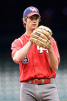 Houston Cougars Pitcher Chase Dempsay (#9) against the Missouri Tigers on Friday March 5th, 2100 at the Astros College Classic in Houston's Minute Maid Park.  (Photo by Andrew Woolley / Four Seam Images)