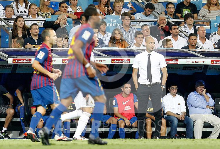 FC Barcelona's coach coach Pep Guardiola during Spanish Supercup 1st match.August 14,2011. (ALTERPHOTOS/Acero)