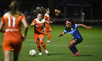 Kansas City, MO - Saturday May 07, 2016: Houston Dash midfielder Andressa Machry (17) against FC Kansas City defender Desiree Scott (3) during a regular season National Women's Soccer League (NWSL) match at Swope Soccer Village. Houston won 2-1.