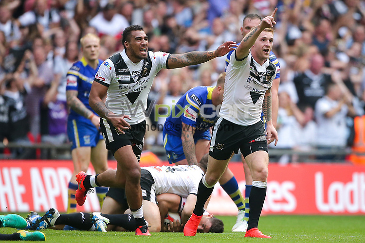 Picture by Alex Whitehead/SWpix.com - 27/08/2016 - Rugby League - Ladbrokes Challenge Cup Final - Hull FC v Warrington Wolves - Wembley Stadium, London, England - Hull FC's Marc Sneyd and Fetuli Talanoa celebrate the win.