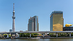 Asakusa Sumida River Skyline from waterfront, Tokyo, Japan