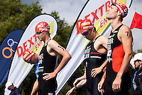 25 JUL 2010 - LONDON, GBR - Ivan Rana, Alistair Brownlee, Simon Whitfield and Sven Riederer prepare themselves for the start of the mens race of the London round of the ITU World Championship Series triathlon (PHOTO (C) NIGEL FARROW)