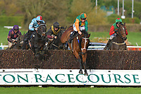 Tommy The Rascal ridden by Ross Chapman clears the last second time around in The Revived Inns Novices' Handicap Chase  during Horse Racing at Plumpton Racecourse on 4th November 2019