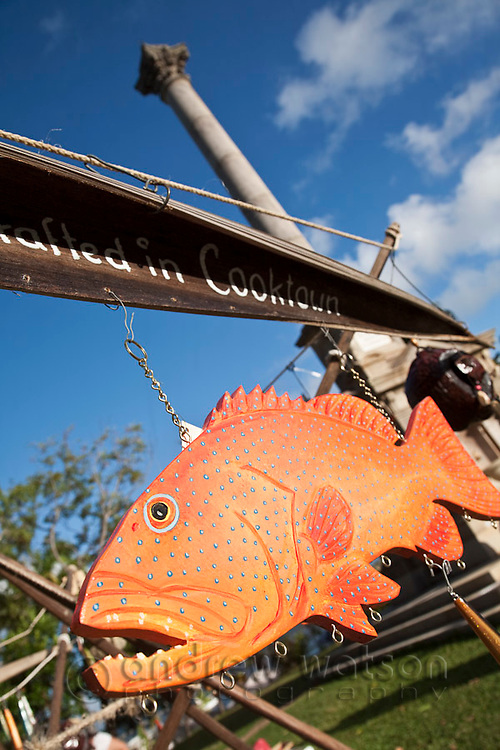 Coral trout painted mobile for sale at weekend markets.  Cooktown, Queensland, Australia