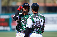 Lake Elsinore Storm center fielder Jeisson Rosario (6) is congratulated by hitting coach Felipe Blanco (20) after getting a hit during a California League game against the Inland Empire 66ers on April 14, 2019 at The Diamond in Lake Elsinore, California. Lake Elsinore defeated Inland Empire 5-3. (Zachary Lucy/Four Seam Images)