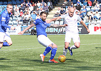Stephen Dobbie shooting in the SPFL Ladbrokes Championship Play Off semi final match between Queen of the South and Montrose at Palmerston Park, Dumfries on  11.5.19.