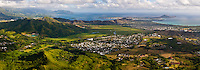 Panorama of Kaneohe Bay, Mokapu Peninsula (Marine Base Hawaii), & Kailua Bay on the Windward (East) side of Oahu, Hawaii. Taken from Mt. Olomana