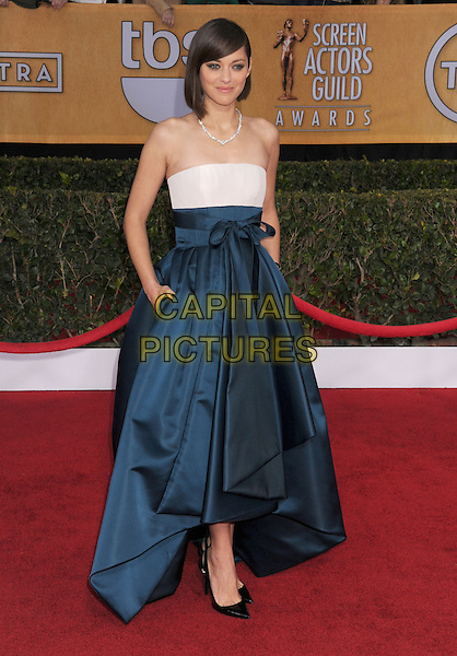 Marion Cotillard (wearing Dior Haute Couture).Arrivals at the 19th Annual Screen Actors Guild Awards at the Shrine Auditorium in Los Angeles, California, USA..27th January 2013.SAG SAGs full length strapless dress blue white silk satin skirt gown bodice high-low hem hands in pockets .CAP/ROT/TM.©Tony Michaels/Roth Stock/Capital Pictures