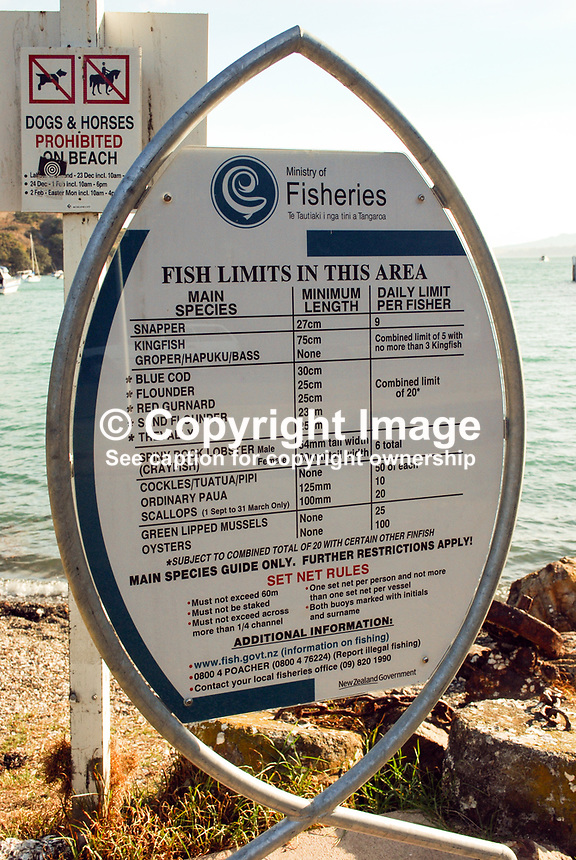 Fishing limits notice, Waiheke Island, North Island, New Zealand, 201004244260..Copyright Image from Victor Patterson, 54 Dorchester Park, Belfast, UK, BT9 6RJ..Tel: +44 28 9066 1296.Mob: +44 7802 353836.Voicemail +44 20 8816 7153.Skype: victorpattersonbelfast.Email: victorpatterson@mac.com.Email: victorpatterson@ireland.com (back-up)..IMPORTANT: If you wish to use this image or any other of my images please go to www.victorpatterson.com and click on the Terms & Conditions. Then contact me by email or phone with the reference number(s) of the image(s) concerned.