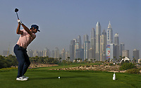 Romain Wattel (FRA) on the 8th tee during Round 2 of the Omega Dubai Desert Classic, Emirates Golf Club, Dubai,  United Arab Emirates. 25/01/2019<br /> Picture: Golffile | Thos Caffrey<br /> <br /> <br /> All photo usage must carry mandatory copyright credit (© Golffile | Thos Caffrey)