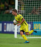 7th February 2020; HBF Park, Perth, Western Australia, Australia; A League Football, Perth Glory versus Wellington Phoenix; Cameron Devlin of Wellington Phoenix runs the ball back after Gary Hooper scored in the 75th minute to make the score 3-2 to Perth Glory