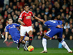 Anthony Martial of Manchester United gets past a tackle made by Oscar of Chelsea - English Premier League - Manchester Utd vs Chelsea - Old Trafford Stadium - Manchester - England - 28th December 2015 - Picture Simon Bellis/Sportimage