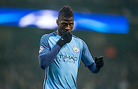 Kelechi Iheanacho of Manchester City celebrates scoring his goal 1 1 during the UEFA Champions League GROUP match between Manchester City and Celtic at the Etihad Stadium, Manchester, England on 6 December 2016. Photo by Andy Rowland.