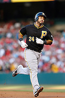 Pedro Alvarez #24 of the Pittsburgh Pirates runs the bases during a game against the Los Angeles Angels at Angel Stadium on June 21, 2013 in Anaheim, California. (Larry Goren/Four Seam Images)
