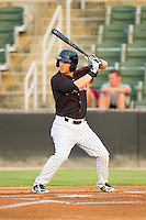 Adam Heisler (6) of the Kannapolis Intimidators at bat against the Lakewood BlueClaws at CMC-Northeast Stadium on August 14, 2013 in Kannapolis, North Carolina.  The Intimidators defeated the BlueClaws 10-2.  (Brian Westerholt/Four Seam Images)