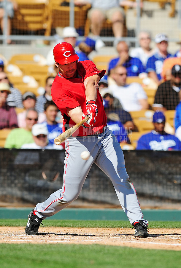 Mar. 12, 2010; Glendale, AZ, USA; Cincinnati Reds third baseman Scott Rolen against the Los Angeles Dodgers at The Ballpark at Camelback Ranch. Mandatory Credit: Mark J. Rebilas-