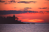 Sunset at the Eagle Harbor lighthouse on Lake Superior in the Keweenaw peninsula of the Upper Peninsula of Michigan.