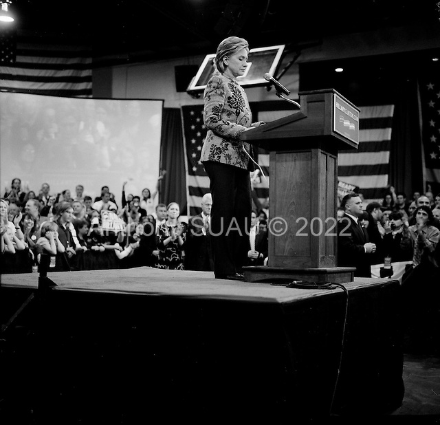 Manchester, New Hampshire.January 8, 2008 ..Democratic presidential hopeful and New York Senator Hillary Clinton holds a victory rally at Southern New Hampshire University with her husband former President Bill Clinton and her daughter Chelsea...