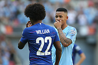Gabriel Jesus of Manchester City whispers to his Brazilian teammate Willian of Chelsea during Chelsea vs Manchester City, FA Community Shield Football at Wembley Stadium on 5th August 2018