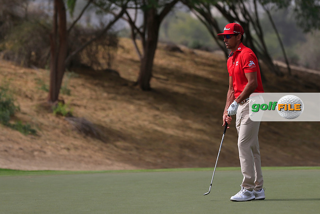 Rafa Cabrera-Bello (ESP) on the 3rd during Round 1 of the Omega Dubai Desert Classic, Emirates Golf Club, Dubai,  United Arab Emirates. 24/01/2019<br /> Picture: Golffile | Thos Caffrey<br /> <br /> <br /> All photo usage must carry mandatory copyright credit (© Golffile | Thos Caffrey)