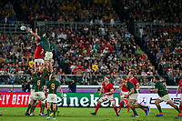 27th October 2019, Oita, Japan;  Justin Tipuric of Wales and Lood De Jager of South Africa battle for the ball in a lineout during the 2019 Rugby World Cup semi-final match between Wales and South Africa at International Stadium Yokohama in Kanagawa, Japan on October 27, 2019.  - Editorial Use