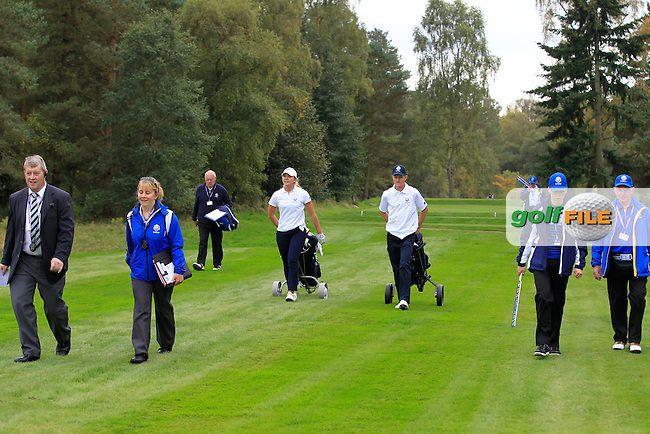 Linnea Strom &amp; Marcus Kinhult (SWE) on the 18th hole in the Mixed Fourballs during the 2014 JUNIOR RYDER CUP at the Blairgowrie Golf Club, Perthshire, Scotland. <br /> Picture:  Thos Caffrey / www.golffile.ie