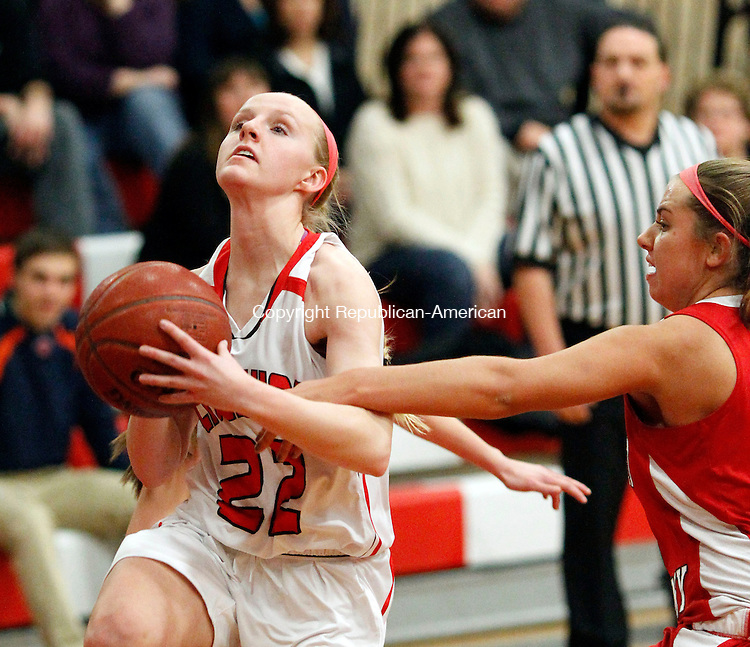 Cheshire, CT-13 December 2012-121312CM10-  Cheshire's Lily Dolyak drives to the hoop and is fouled by Sacred Heart's Academy's Thursday night in Cheshire.  Cheshire lost, 59-52.     Christopher Massa Republican-American