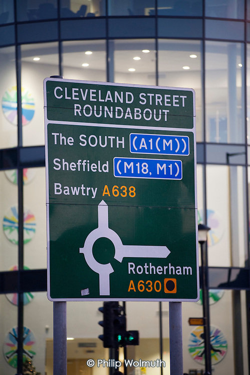 Road sign to The South in the centre of Doncaster.