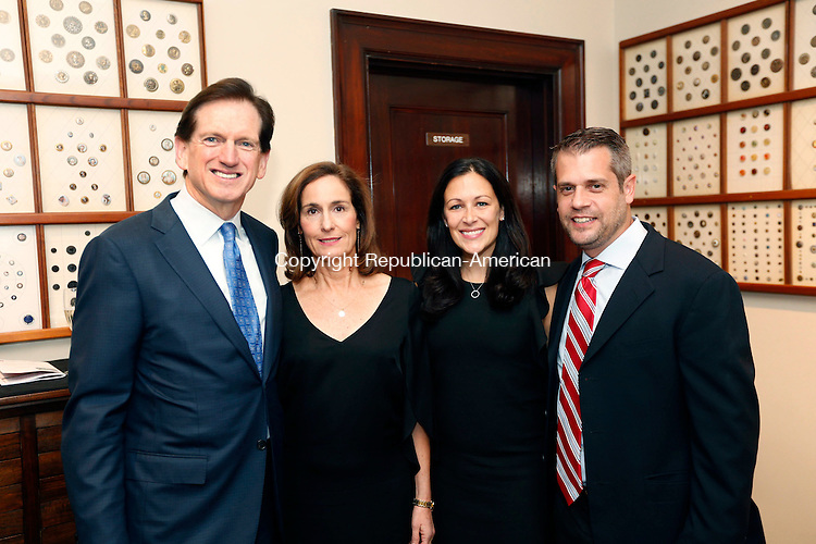 Waterbury, CT- 16 September 2016-091616CM08- Social Moments, from left co-chars of the event, Gary and Pam O'Connor and Emily Becker Fasano and Christopher Fasano are photographed during the 8th Annual Brass Button awards at the Mattatuck Museum in Waterbury on Friday.  Christopher Massa Republican-American