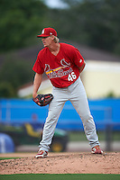 Palm Beach Cardinals pitcher Lee Stoppelman (46) looks in for the sign during the first game of a doubleheader against the Dunedin Blue Jays on July 31, 2015 at Florida Auto Exchange Stadium in Dunedin, Florida.  Dunedin defeated Palm Beach 7-0.  (Mike Janes/Four Seam Images)