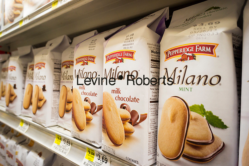 """Pepperidge Farm Milano cookies are seen on a supermarket shelf on Sunday, April 7, 2013. Pepperidge Farm has recently released a new series of television commercials for Milano by Y&R NYC which highlight secret """"me"""" time that women spend with the cookies, Milano is the company's best selling cookie and Pepperidge Farms is a brand of the Campbell Soup Co. (© Richard B. Levine)"""