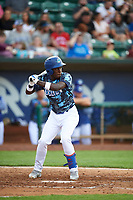 Sauryn Lao (3) of the Ogden Raptors bats against the Grand Junction Rockies at Lindquist Field on June 14, 2019 in Ogden, Utah. The Raptors defeated the Rockies 12-0. (Stephen Smith/Four Seam Images)