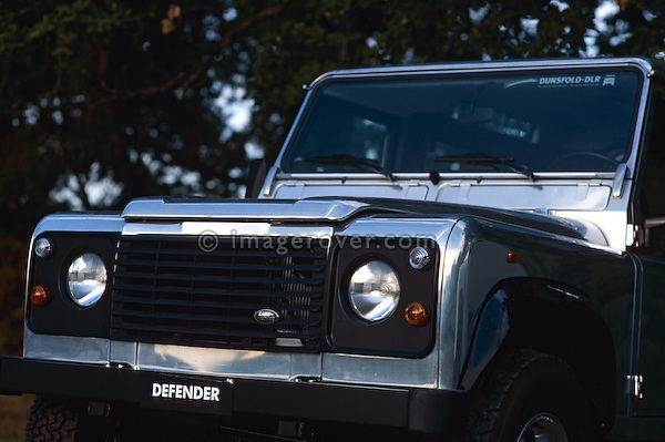 Bare aluminum polished 1998 Land Rover Defender 90 show car, Engine 2.5 300 TDI, Chassis No. DVB68VA110149. Now part of the Dunsfold Collection of Landrovers, Surrey, UK. NO RELEASES AVAILABLE. Automotive trademarks are the property of the trademark holder, authorization may be needed for some uses. --- Info: This Defender 90 was built at Land Rovers to commemorate 50 Years of Land Rover in 1998, and was shown around the world at many shows. A new 90 was taken from the production line and stripped out. The bulkhead and chassis were painted, new un-painted panels were taken from the press shop and fitted. Because the spot welds would look ugly the skins were glued on.