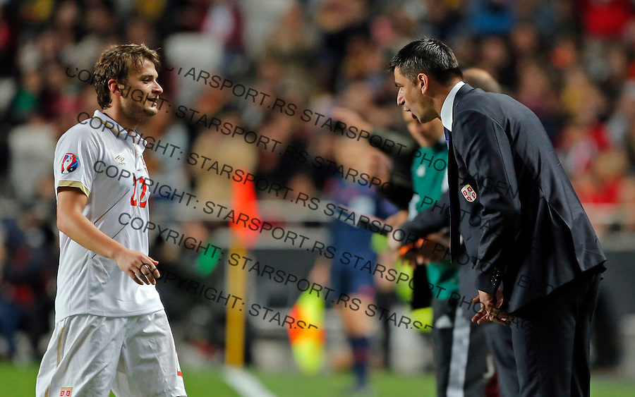 Adem Ljajic Radovan Curcic Uefa EURO 2016 qualifying football match between Portugal and Serbia in Lisboa, Portugal on March 29. 2015.  (credit image & photo: Pedja Milosavljevic / STARSPORT)