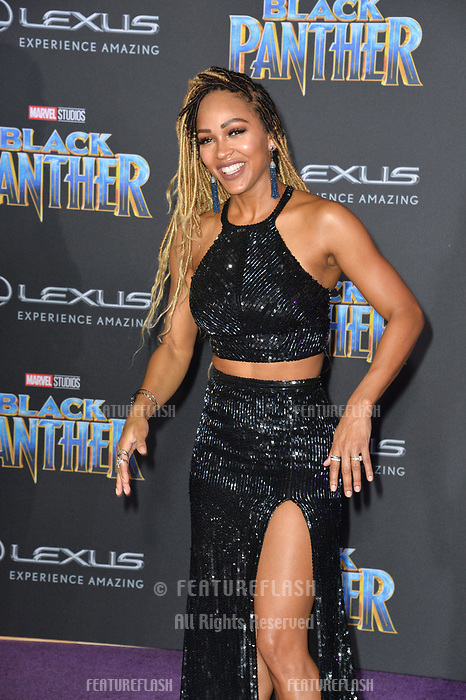 Meagan Good at the world premiere for &quot;Black Panther&quot; at the Dolby Theatre, Hollywood, USA 29 Jan. 2018<br /> Picture: Paul Smith/Featureflash/SilverHub 0208 004 5359 sales@silverhubmedia.com