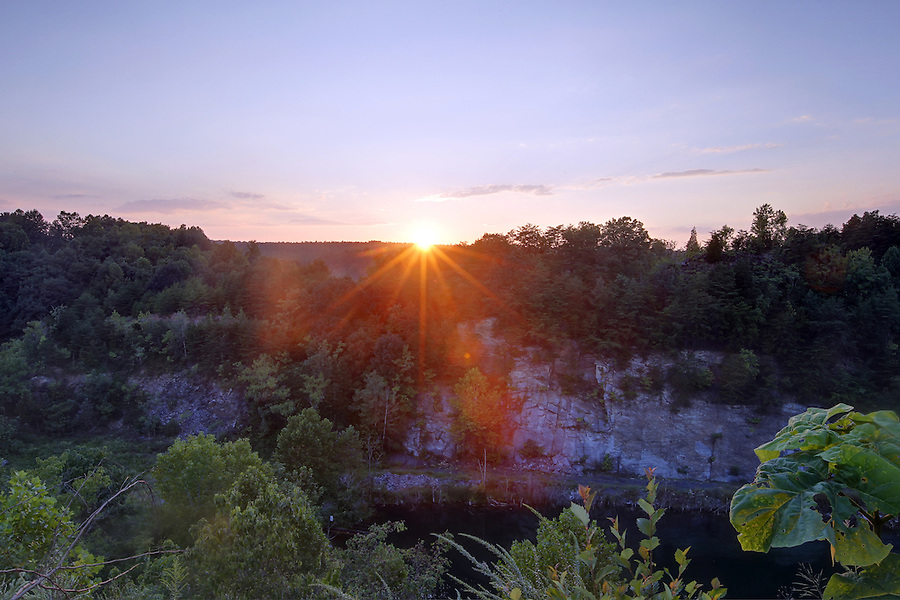 Sunset over the slate quarry in Buckingham County, VA. Photo/Andrew Shurtleff